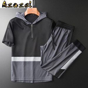 Azazel Hooded Summer Mens Sets (t-shirt+pants) Luxury Short Sleeve Splicing Design Man Sets Plus Size 4xl Slim Fit Man Tracksuit