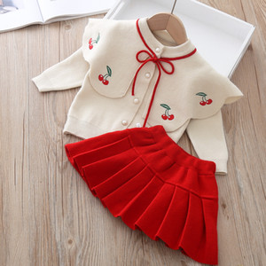 Baby Kids Children Wear Cherry Sweater Coat+Pleated Skirts 2pcs Suit 2020 Fall Autumn Knitwear Princess Clothes Set For Girls X0923