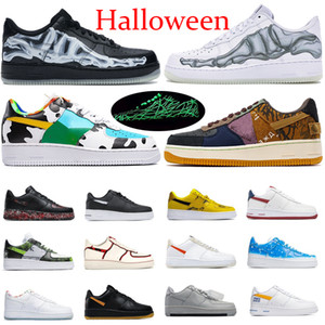 Kasım Bir Siyah İskelet Cadılar Bayramı Üçlü Beyaz Basketbol Ayakkabı Glow Tıknaz Travis Scotts Gökyüzü Mavi Çizik Siyah Erkek Kadın Koşu Sneakers