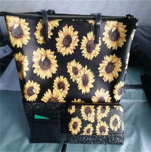 Цветочные KS PU сумки бумажник кошелек 3шт / Set женщин Конструкторы блестки Glitter плеча сумки Tote Sunflower Mini кошелек Портмоне Set D42705