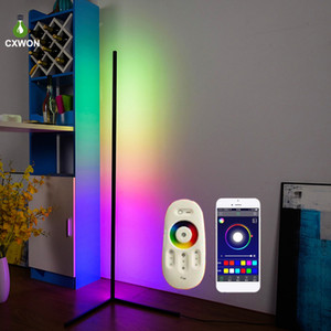 RGB simple nórdica esquina Lámpara de pie moderna LED Rod luces de piso para sala de estar dormitorio Ambiente de pie lámpara de luz interior