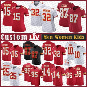 15 Patrick Mahomes Custom Men Женщины Детский футбол Джерси 87 Travis Kelce 10 Tyreek Hill 95 Крис Джонс 25 Edwards-Helaire 26 Bell 14 Watkins