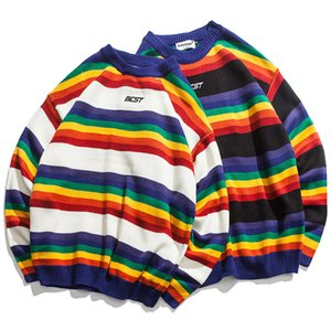 Men Rainbow Striped Hit Color Mens Pullover Loose High Street Sweaters Fashion Knitted Male Sweater Streetwear fz2454