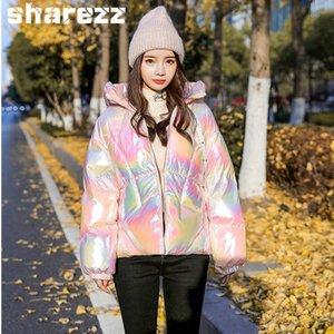 Sharezz hiver Doudoune Femmes 2020 Nouveau court brillant Parkas capuche brillant brillant manteau chaud épais en vrac vers le bas coton rembourré