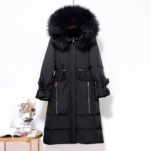 White Duck Down Parka Women Large Real Pink Racoon Fur Collar 2019 New Plus Size Women's Winter Coat Causal Slim Hooded Jacket