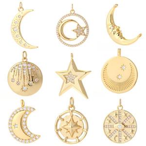 Charms Lune Star Pendentif pour bijoux Fabrication de Boucles d'oreilles en cuivre en cuivre de cuivre
