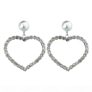 Love Heart Shaped Earrings White Bling Crystal and Pearl Drop Earrings 925 Sterling Silver Chandelier Earrings for Women Lover with Free Box
