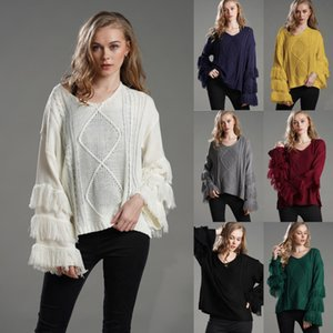 Flared Long Sleeve Sweater Womens Clothing Pullover Fashion Tassel Solid Knitting Sweater Ladies Trendy Casual Multicolor T Shirt New P36