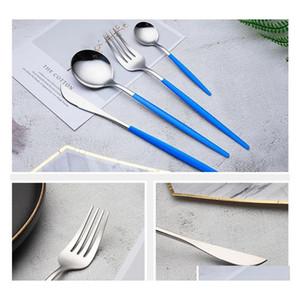 410 acciaio inox clotlery stoviglie a buon mercato 4pcs set di posate in oro nero set di posate in acciaio inox kni jllzjt garden_light