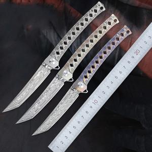 FK-88 Handle Aço Damasco VG10 Folding Pocket Knife Com TC4 liga de titânio selva Faca Outdoor japonesa manual Colecção Faca Boutique