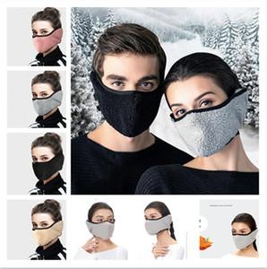 Kalınlaşmış Fleece Yüz Maskesi Yetişkin Berberi Polar Maskeler Bisiklet Earmuffs Karşıtı Toz Windproof Yüz Maskeleri Ağız-mufla Kulak Muff F102102 Çizgili
