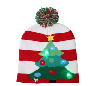 6pcs lot LED Christmas Beanie Ugly Christmas Sweater Christmas Hat Beanie Light Up Knitted Hat for Children Adult