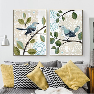 retro country style paintings butterfly inseparable king bird Posters Canvas Art Print Painting wall Pictures For home decoration