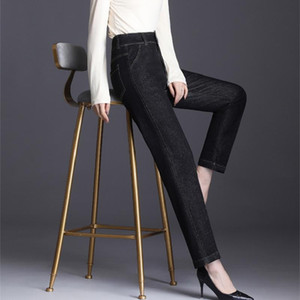 2020 Pantalon droit Femme Elasticité Commute Pantalons fille de grande taille Jeans Mode femme Lady haute qualité
