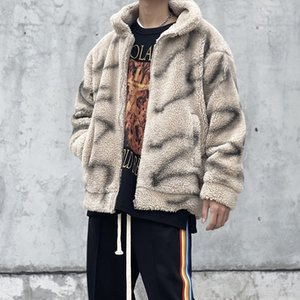 Giacca calda di lana alta strada Uomini e donne Tie-Dye Cotton imbottito in pile in pile in pile Giacca inquinosa oversize