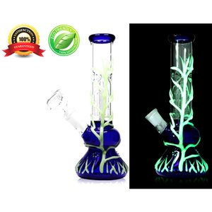12 inch Glass Bong Handmade Beaker Style Water Pipe Smoking Accessories (Classic Glowing Tree)