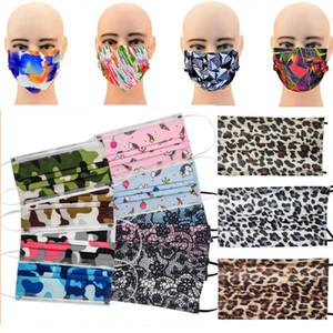 Yetişkin Leopar Tahıl Kamuflaj Dantel Sigara Dokuma Anti-Dust moda koruyucu kulak halkalarına Perakende Paketi Tek Tasarımcı Yüz Maskeleri Maske