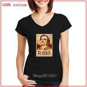 Новый Vintage Старый плакат дизайн Gustavo Duncan Mas Que Plata O Plomo женщин V-образным вырезом тройник Camiseta ретро Pablo Escobar серебро или свинец