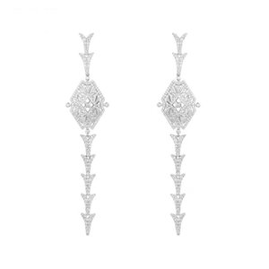 New Arrival 925 Sterling Silver Full Crystal Hollow Shield Long Earrings Fashion Earring Jewelry for party Gift women Jewelry