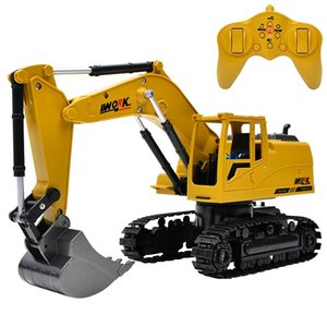 8CH Simulation Toy RC Excavator Toys with Musical and Light Children's Boys RC Truck Beach Toys RC Engineering Car Tractor 201103