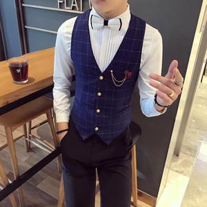Chaleco Hombre Vests New Fashion Flowers Plaid Vest Men Formal Wedding Suit Slim Fit Waistcoat Gilet Quality Thin Dress Vest