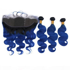 Dark Blue Ombre Peruvian Human Hair Wefts with Lace Frontal Closure 13x4 Body Wave #1B Blue Ombre Virgin Hair 3 Bundles with Frontal