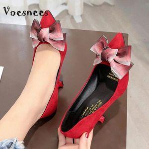 Voesnees Pompes Femmes Bowknot Stiletto Hauts Talons High 8cm 2021 Nouvelle mode pointue pointue chaussures unique Chaussures de fête professionnelles # NE4O