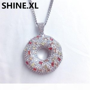Doughnut Necklaces Pendants For Women Men Donut Charms Jewellery Iced Out CZ Stone Necklaces Sweet Buns Pendant Men