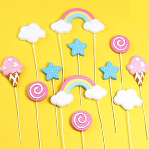 Rainbow Cake Topper Cloud Star Cake Decor Happy Birthday Decor Kids Boys Girls Lollipop Ice Cream Birthday Cupcake Decorations