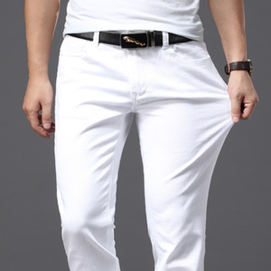 Brother Wang Men White Jeans Fashion Casual Classic Style Slim Fit Soft Trousers Male Brand Advanced Stretch Pants 201013