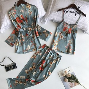Daeyard 3 Pieces Silk Pajama Set Print Nightwear Pijama Home Suit Women Sexy Lingerie Pyjama Bride Robe Satin Kimono Floral Robe Y200708