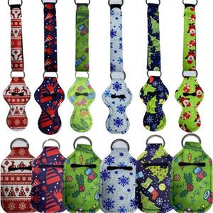 10PCS LOT Christmas Key Chain Holder Neoprene Lanyards Lipstick Case Bag Hand Sanitizer Bottle Cover Waterproof Key Ring Bag Pendant E102401