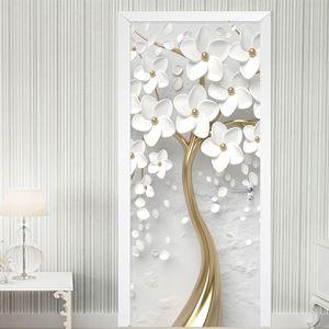 ذاتية اللصق الباب ملصقا 3d ستيريو الأبيض الزهور جدارية خلفيات غرفة المعيشة ديكور المنزل الباب المشارك للماء ملصقا T200609