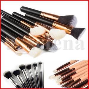 Pennelli di trucco 15pcs / set della spazzola con il sacchetto dell'unità di elaborazione professionale pennello per la polvere fondamento arrossisce ombretto nero marrone rosa di alta qualità