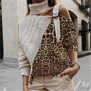 Chic Women's Leopard Turtleneck Knit Sweaters Jumper Autumn Winter Strap One Shoulder Pullover Lady Long Sleeve Knitwear Female1