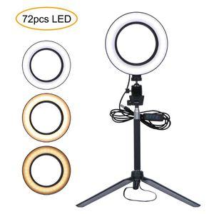 2020 LED селфи Ring Light Dimmable LED кольцо лампы Фото Видео камеры телефона Light Заливка с кронштейном