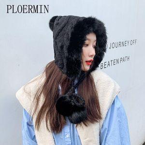 PLOERMIN 브랜드 여성 따뜻한 스키 큰 모피 기억할만한 공 니트 모자 겨울 여성 모직 베레모 모자 두꺼운 Skullies 비니 모자