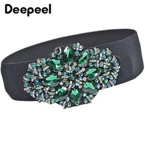 Deepeel 6 * 70cm de luxe strass élastique Cummerbund couleur élégant cristal Décor ceinture coût Accessoires de vêtement large ceinture YB256