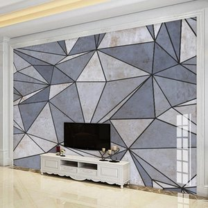 Custom 3D Photo Wallpaper For Walls Gray Geometric Lines Square Living Room Sofa TV Background Wall Decoration Painting Mural