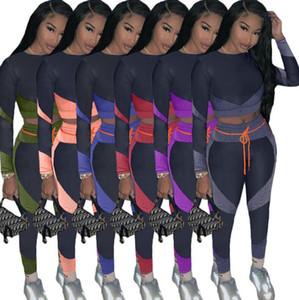 Женщины Cousssuit Лоскутное спортивное йогу костюма с длинными рукавами толстовки пуловер блузки топы рубашки + леггинсы брюки 2 частей наряды S-2XL F92906