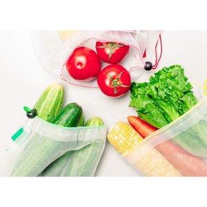 Prodotti riutilizzabili Maglia Shopping Bags Shopping Mesh Vegetable Decollo di frutta Pouch Borsa a mano Borsa con scolloraggio Scatola di stoccaggio PPD3874