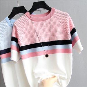 2020 fashion summer Shirt Women Striped Tshirt Knitted Cotton 2020 Korean T-Shirt Woman