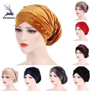 DOUDOULU Female Laides Hats Women Muslim Beading Pearl Ruffle Hat Beanie Scarf Turban Head Wrap Cap Hats 2020 #SS