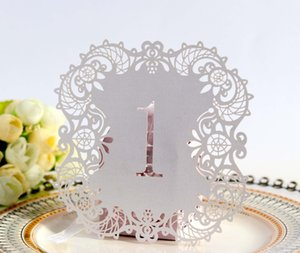 Creative Hollow Laser Cut Seating Cards Numbers Sign Table Cards Romantic Wedding Event Party Supplies