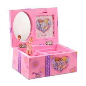 Mit Spiegel Speicherring Organizer Musical Jewelry Box Home Decor Kinder Spielzeug Ballerina-Mädchen Wind Up Schlafzimmer DIYCute Foto-Halter 0iQ5 #