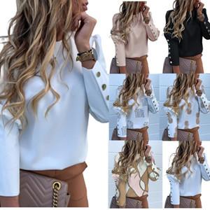 Women Long Slim Print Buttons Puff Sleeve Suit Work Formal Business Shirt Blouses Outwear Tops
