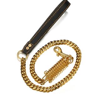 15mm Dog Leash Dog Training corde poignée en cuir noir d'or en acier titane en acier inoxydable Cubain chaîne Nouveau
