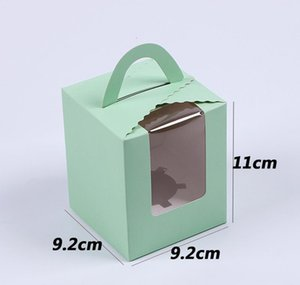 Single Cupcake Boxes With Clear Window Handle Portable Macaron Mousse Cake Snack Box Paper Package Box Birthda sqcAnn dh_seller2010