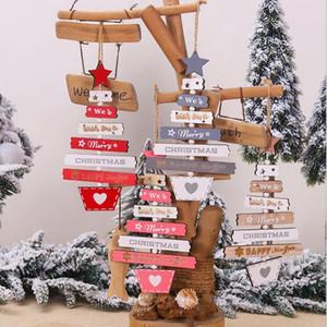Xmas Elk Wood Craft Рождественская елка орнамент Рождественские украшения из натурального дерева Висячие Подвески рождественская елка кулон подарок YYA498