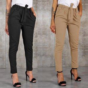 Ofis Bayan Siyah Takım Elbise Pantolon Kemer Kadınlar Yüksek Bel Katı Uzun Pantolon Moda Cepler Pantolon Pantolon Pantalones Yeni 201113